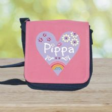 Rainbow Heart Design Shoulder Bag - Personalised with Name